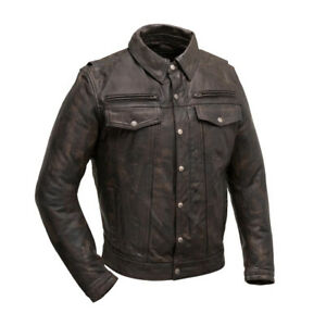 Men's Leather Motorcycle Riding Jacket. Distressed Brown Color (Villain)