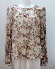 *TOPSHOP* Ladies 100% Cotton Floral Long Bell Sleeve Scoop Neck Top UK 10 EUR 38