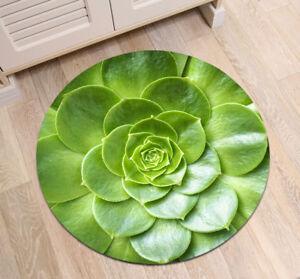 Non-slip Round Green Succulent Flowers Area Rug Room Floor Yoga Carpet Beach Mat