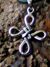 """STERLING SILVER 30mm.CELTIC CROSS PENDANT on a 18"""" BLACK RUBBER THONG £14.95 NWT"""