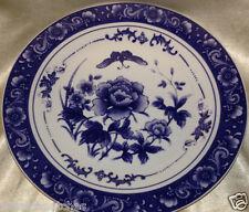 "BAUM BROTHERS BLUE ROSE COLLECTION DINNER PLATE 10 5/8"" BLUE FLOWERS BUTTERFLIES"