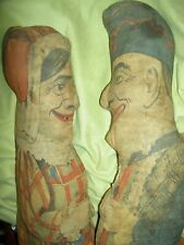 "Two antique c1900, Art Fabric Mills, printed cloth Punch & Judy 24"" cloth dolls"