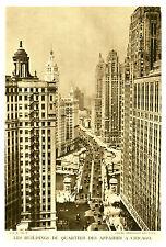 Document ancien les buildings du quartier des affaires à Chicago