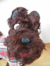 SCOTTIE DOG Antique Curly Hair Straw Body Googly Eyes Leather Nose Ears Tongue