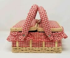 Vintage Square Child Doll Picnic Basket Handled Sewing Box Red Gingham + Fabric
