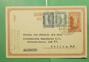 DR WHO 1930 TURKEY ISTANBUL UPRATED POSTAL CARD TO GERMANY  g11858