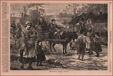 IRELAND, Evicted from Home, antique engraving, original 1875