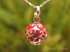 Red Harmony Ball 12mm + 925 SOLID Silver Chain