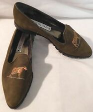 DONALD J PLINER GREEN SUEDE POINTED TOE LOAFERS W/ ORANGE COW WOMENS SIZE 6.5 M