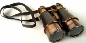 Antique Brass Marine Vintage Nautical Binocular With Black Leather Belt