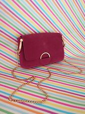 Used Once H&M Pink Leather Suede Gold Chain Handbag Bag