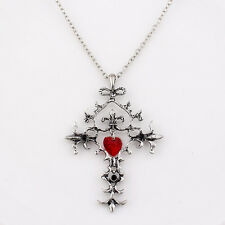 Vintage Cross Pendant Necklace Red Heart Alloy Chain Necklaces Fashion Jewelry