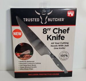 """The Trusted Butcher 8"""" Chef Knife w/ Protective Cover - As Seen On TV - New"""