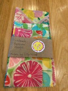 Handmade Reusable Beeswax wraps food storage snack kitchen Lilly Pulitzer fabric
