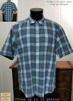 Tommy Bahama Jeans Blue Plaid Button Front S/S Cotton Casual Shirt Men's Sz L