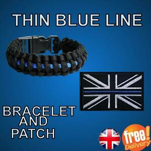 Thin Blue Line Patch And/Or Paracord Bracelet Free P&P UK