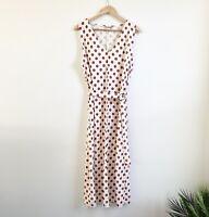 Zara Maxi Dress Size Large Cream & Tan Polka Dot Sleeveless Belted Lightweight
