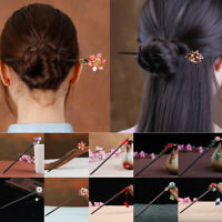 Chinese Style Jade Plum Blossom Rose Wooden Chopstick Hairpin Chignon Hair Stick