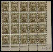 TIMBRES FRANCE 1943/46 TAXE BLOC de 20 n°77 COTE 244€  NEUF** SUPERBE