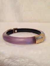 NEW ALEXIS BITTAR Lavender Purple LUCITE Gold Tone Hammered Bracelet - HINGED