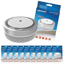 """10x Nemaxx Mini-Designer Rauchmelder """"Elegance"""" mit 5 J. Lithium Batterie Silber"""