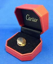 VERY VINTAGE CARTIER 14K GOLD FLUTED TIE CLIP PIN W/BOX