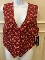 KatchMe Vest Size Medium Burgundy Floral 2 Pockets Tie in Back New with Tags
