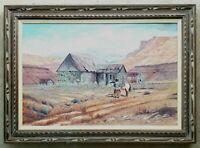 BEN STEVENS Vintage Painting New Mexico Landscape Horse Old West Cowboy Ranch