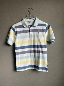 Nautica Polo Shirt Boys l Xl 14 short Sleeve Top Blue Yellow white Stripe