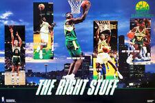 Seattle Supersonics RIGHT STUFF 1994 Costacos POSTER Shawn Kemp, Gary Payton, ++