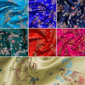 """Brocade Chinese Dragon Embroidered Silky Satin Oriental Fabric 