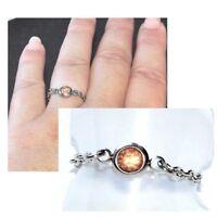 Bague fine chaine chainette acier (coul argent ) cristal saumon T 48 au 66 bijou