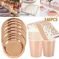 146x Rose Gold Foil Paper Plate Straws Tableware Supplies Wedding Birthday Party
