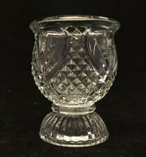 "3.75"" TALL CLEAR GLASS CRYSTAL CANDLE HOLDER CUP-ROUND BASE-TEXTURED DESIGN"
