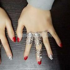 Rhinestone Full Finger Joint Knuckle Armor Hollow Out Finger Ring Silver