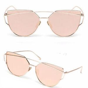 Vintage Retro Women's Rose Gold Cat Eye Ladies Large Mirrored Sunglasses UV400