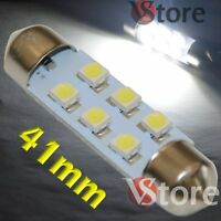 2 LED Festoon 41mm 6 SMD BIANCO Lampade Luci Xenon Lampadine Interno/Targa
