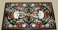"""15""""x18"""" Marble Black Dining Table Top Inlay Floral Marquetry Inlay Decor H3499"""