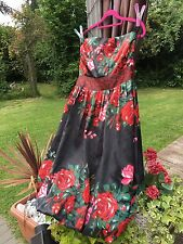 40's 50's Swing Rockabilly Tea Races Prom Evening Party  Dress Size 16 New Look