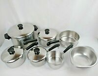 1801 REVERE WARE 11 Pc Stainless Tri-Ply Disc Bottom Set Pots Sauce Pans Lid USA