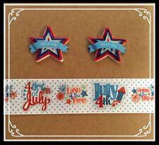 4th JULY STAR Hair Bow Supply Set - 2 yd Ribbon and 2 Flatback Resin