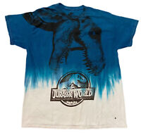 Jurassic Park T-Rex Blue Tie Dye All Over Print Graphic Tee Men's 2XL