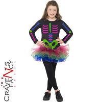 Girls Neon Tutu Skeleton Costume Kids Halloween Party Child Fancy Dress Outfit