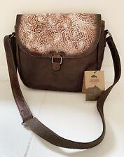 NWT JACK GEORGES Voyager Collection Brown Buffalo Leather Savio Saddle Bag