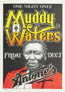 """Reproduction """"Muddy Waters"""" Poster, Blues, Home Wall Art, Vintage Print"""