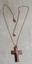 "Coppertone Metal Fine Link Chain Jeweled Split Cross Pendant 19"" Necklace"