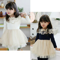 Baby Girls Toddler Kids Long Sleeve Lace Dress One-piece Cotton Skirt