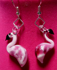 Unique Flamingo earrings lampwork Glass Pink flamingos detailed pink birds