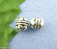 80Pcs Silver Tone Carved Spacers Beads 5x5mm