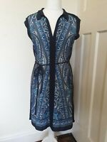 Oasis Paisley Vintage Retro Tunic Knee Length Dress Size M 12 14